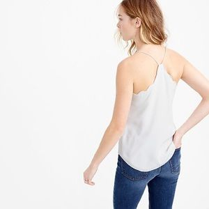 J. Crew Scalloped Carrie Cami Off White Silk 8